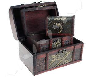 Wooden Vintage Treasure Chest Jewellery Storage Box Case Set Organiser