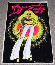 DYNAMITE LADY Sexy Groupie Blonde Girl Flocked Blacklight Poster 1973 Petagno