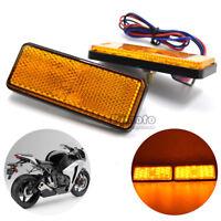 2pcs Yellow Rectangle LED Reflectors Brake Stop Light for Universal Motorcycle