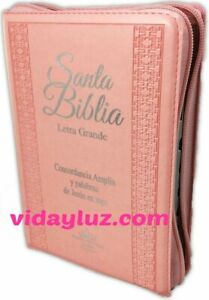 BIBLIA REINA VALERA 1960 LETRA GRANDE con CIERRE ROSA e INDICE MAXI CONCORDANCIA