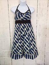 Anthropologie Brand Maeve Halter Dress Size 4 Cutout 100% Cotton Blue Cream