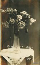 1908 Parkersburg Iowa Jones Photo Studio Christmas Rose Base RPPC 11315