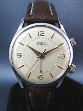 Vintage Angelus Stainless Steel Alarm Mens Watch 17J Hand Wind 1950s Swiss NICE