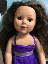 """Madame Alexander 18"""" Doll Brunette Brown Eyes With Pruple Dress"""