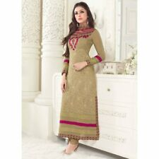 Hypnotex - Chikoo Georgette semi stitch Salwar suits dress divya2510
