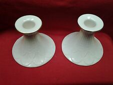 Lenox Porcelain Leaf Design Pattern Gold Trim Pair.of Candle Holders