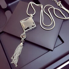 Luxury Womens Long Chain Pendant Necklace Square Big Drop Crystal With Tassel
