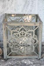 * IB LAURSEN Teelichthalter Laterne Metall Blume Windlicht Glas Landhaus