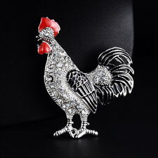 Clear Crystal Silver Tone Chicken Brooch Pins Wedding Party Jewellery Gift