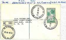 PALM TREES - COOK: POSTAL HISTORY:  REGISTERED FDC COVER to USA 1949 - NICE!