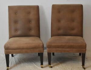 Baker Furniture Tullip & Crown Pair of Club Chairs Tufted Leather Upholstery