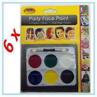 6 FACE PAINT SET 6 COLOURS COLOR AND BRUSH KIDS CRAFT MAKE UP PARTY FUNCTION AP