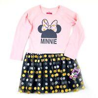 Disney Minnie Mouse Dress Size 6 Girl Pink Grey Metallic Polka Dot Glitter Tulle