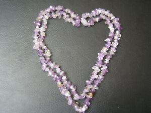 """Lovely Amethyst Chip Necklace 34"""" Long Birthday Gift Reiki Healing"""