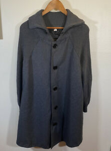 Yipinyichu Woman's Long Dark Gray Sweater Poncho Swing Coat XXL Plus Size Lined