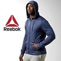 Reebok Crossfit Workout Melange Full Zip Hoodie Fitness Gym Free Tracked Post