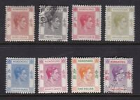 Hong Kong stamps #157b - 164a, missing a couple, mint & used, '38-'52, SCV $46