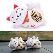 New Solar Powered 4'' Maneki Neko Lucky Waving Beckoning Fortune Cat Car DecorNJ
