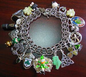 Vintage Sterling Charm Bracelet Irish Ireland Connemara Marble Clover Shamrock