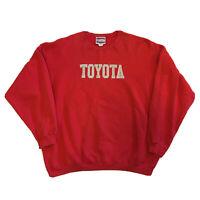 VTG 90s Sweatshirt Mens XL TOYOTA Stitched Logo Streetwear Hip Hop Red Pullover