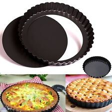 "8"" 20cm Round Steel Non Stick Loose Cake Tart Kitchen Fluted Flan Dish Tin Tray"