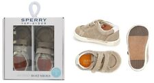 Sperry Baby Boys Top-Sider Halyard Crib Khaki Canvas Shoes NEW Boxed Size 1 2