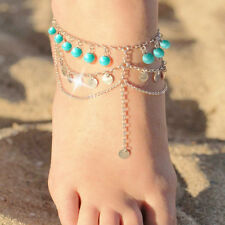 1PCS Green Round Bead Tassel Chain Anklets for Women Beach Ankle Bracelet