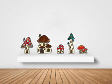 CLR:WALL - Mushroom Village Set of 5 (XL) Stained Glass Style Wall Decal  ©YYDC