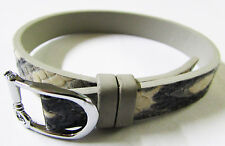 KEEP COLLECTIVE Leather Band Charm Bracelet Black & White Snake / Cool Grey