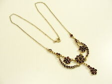 GRANAT COLLIER HALSKETTE 900 SILBER VERGOLDET GARNET NECKLACE COLLANA ARGENT TOP