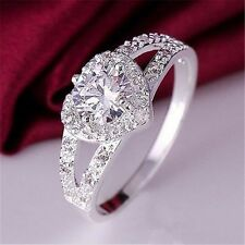 Women Fashion Crystal Love Heart Ring Silver Plated Wedding Engagement Jewelry