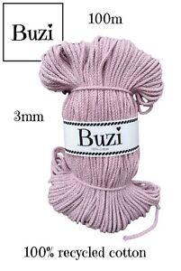 Macramé Cord String 100% Natural Recycled Soft Cotton Yarn 3mm LILAC PINK 100m