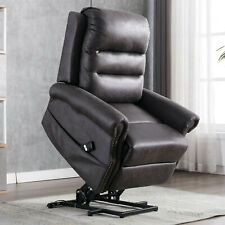 Power Lift Sofa Chair Recliner PU Leather Remote Control Soft Seat For Elderly