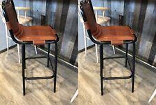 Metal Bar Stools Vintage Industrial Chair Retro Leather Seat High Breakfast Pub