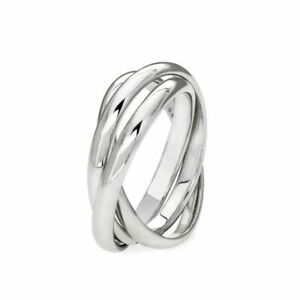 Genuine 925 Sterling Silver 3 Band Russian Wedding Ring All sizes