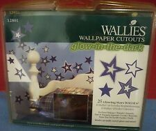 2 Packs Wallies Cutout Stars Glow in the Dark 50 Pc New Prepasted Wallpaper