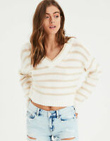 New Women's American Eagle Striped V-Neck Pullover Cream Sweater Sizes X-Large