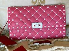 NWT Valentino Rockstud Free Spike Pink White Quilted Chain Clutch Shoulder Bag