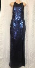 Freddi Gown Navy Sequined Halter Slit Leg Size 6-8