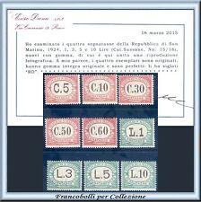 1924 San Marino Segnatasse Serie completa n. 10/18 Certif Diena Nuovi Integri **