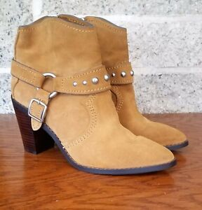 COACH FG1005 WOMENS CAMEL BUCKLE HARNESS SIDE ZIP ANKLE BOOTIES BOOTS US 9B
