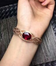 Designer Diamond Red Ruby Ladies Bracelet Bangle 14K Rose Gold Vermeil Plated
