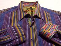 Robert Graham Mens Medium L/S Button-Front Multicolor Striped Paisley Shirt