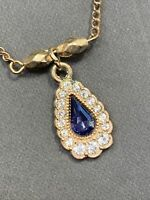 Vintage Necklace Blue Lucite Clear glass crystal  Gold Tone Chain Pendant 14""