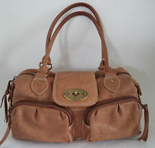 BROWN SOFT LEATHER BAG HANDBAG DOUBLE STRAPS