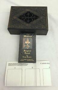 Vintage NIB Medieval Scapini Tarot & Carved Box