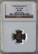 1700 England 2P 2 Pence NGC AU55 Silver Coin