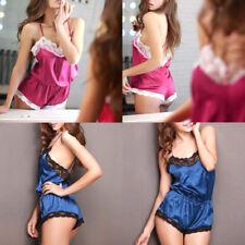 Womens Sexy Lace Silk Cami Underwear Lingerie Sleepwear Nightdress Robe New UK