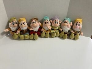 """Lot Of 7 Disney Store Snow White and The Seven Dwarfs Bean Bag Plush Doll Toy 8"""""""