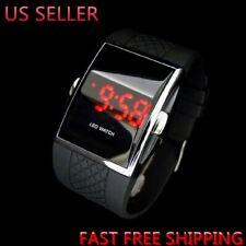 Luxury Men's Fashion LED Digital Date Sports Quartz Rubber Bracelet Wrist Watch